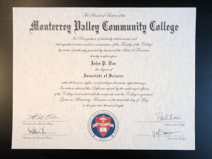 Fake Community College Diploma
