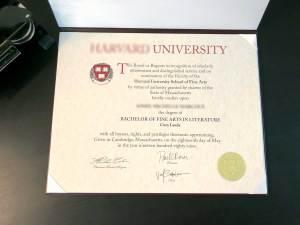 Harvard Style Fake Diploma & Diploma Cover
