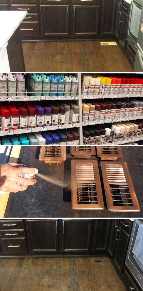 Pintando rejillas de ventilacion un color similar al del piso