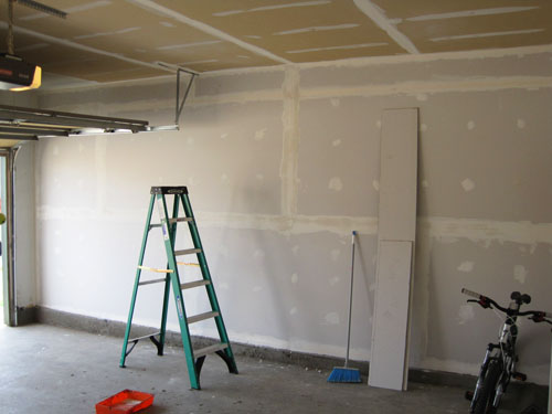 Wall with drywall panels installed, taped and mudded