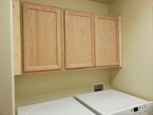 Installed, unfinished, Laundry Room Storage Cabinets