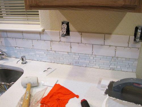 installing kitchen countertop macy table sets a mosaic and subway tile backsplash