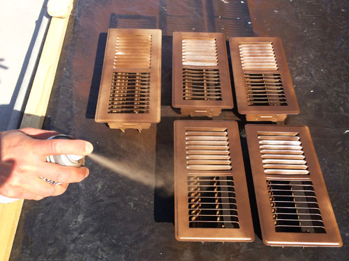 Spray painting air vents