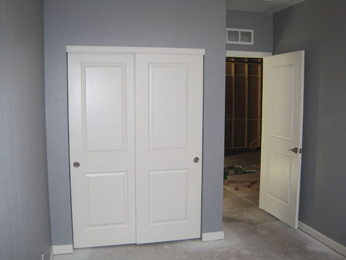 Basement bedroom closet doors