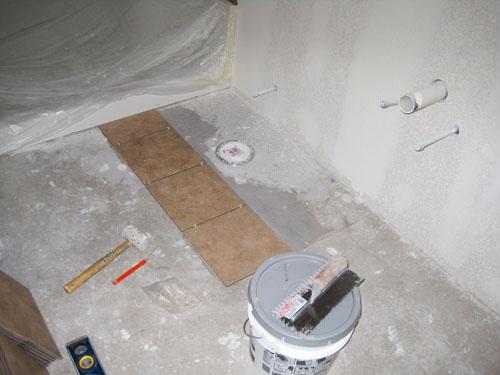 Tiling basement bathroom