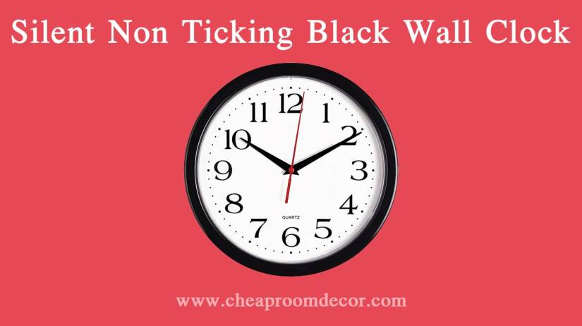 Silent Non Ticking Black Wall Clock Decorative Items For Bedroom Walls