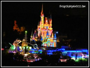 Magic, Memories, and You!, Cinderella castle at night, Disney Princess dreams, Tomorrowland at Night