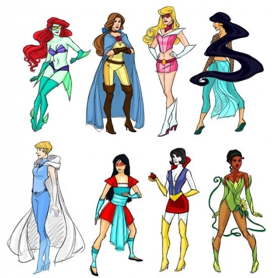 modern picture of Disney Princesses, Disney Princesses a superheroes, female superheroes, be a superhero, how to have fun, how to be a Princess, how to be a Disney Princess, modern Princess