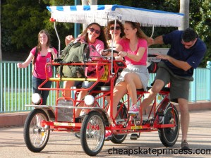 family on a surrey bike, Boardwalk sorry bike rental, how much does it cost to rent a sorry bike at Disney, why rent a surrey bike