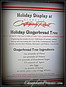 Contemporary Resort holiday gingerbread tree ingredients, what is in the Contemporary Resort gingerbread tree?, Disney holiday display, Contemporary resort