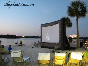 blow up movie screen, movie on the beach, Polynesian Resort Disney movie