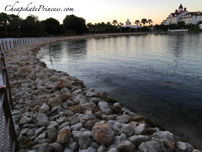 new rocks and fences along the water at Disney World