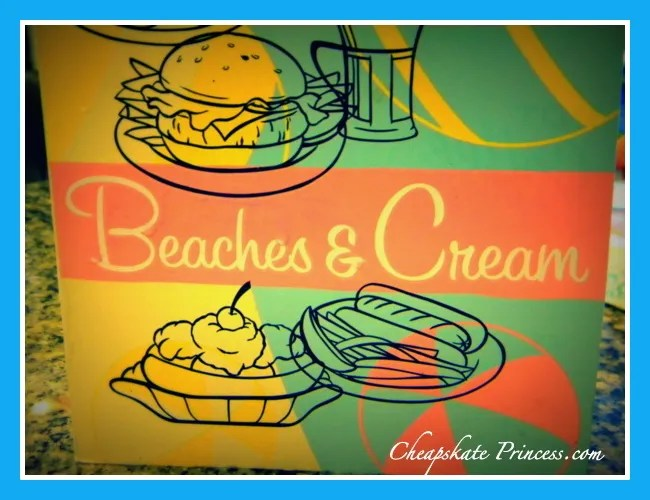 Beaches and Cream menu, Disney Beaches and Cream, Disney Beach Club soda shop