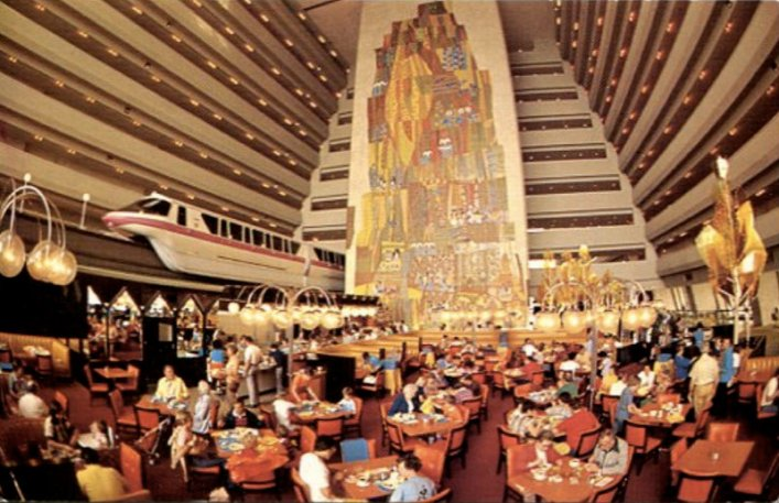 lobby of the Contemporary Resort back in the 1970s