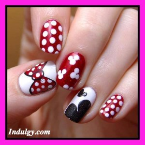 instructions on how to do your own manicure, how to paint your own nails, Minnie Mouse manicure, Mickey Mouse manicure, nail art ideas