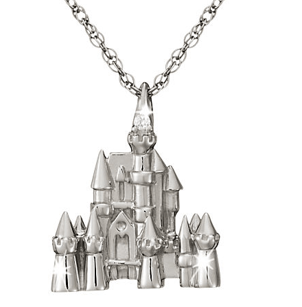 Disney castle platinum necklace