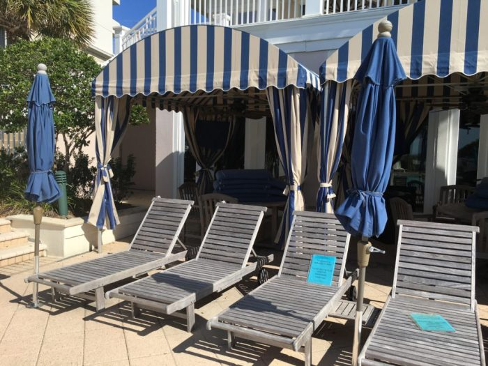 Clubhouse cabanas at the Gulf Shores Beach Club