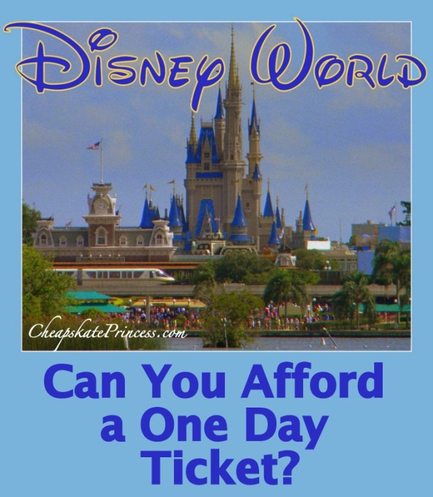 Price for a 1 day Disney World ticket