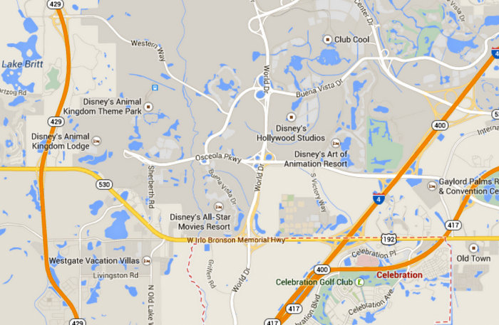 map location of Celebration Florida