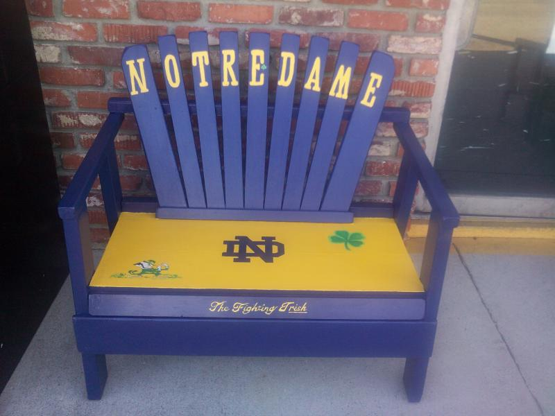notre dame chair childrens wicker rocking cheap artist guild green bay packers bench handpainted adirondack