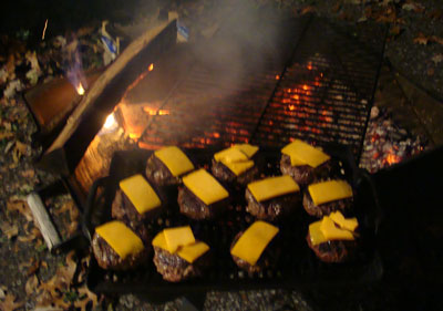 cheese burgers on the grill