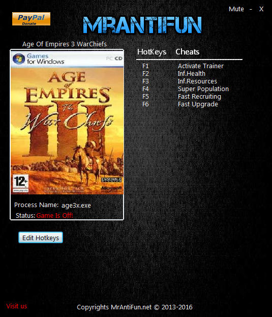Age of Empires 3 Warchiefs Trainer +5 v1.06 MrAntiFun - download cheats. codes. trainers