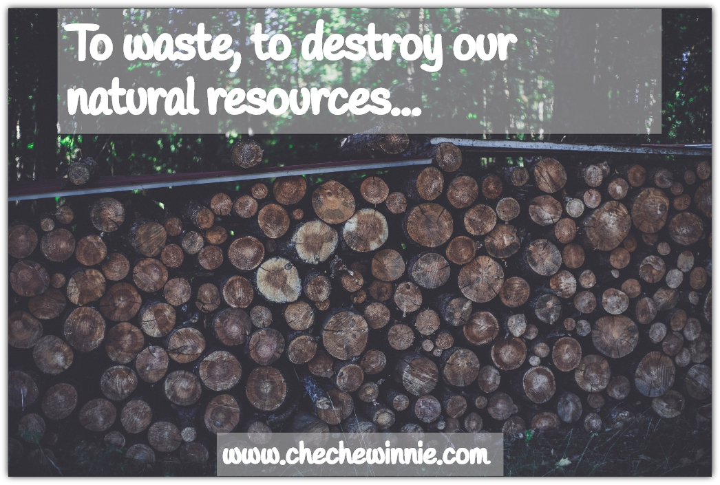 To waste, to destroy our natural resources...