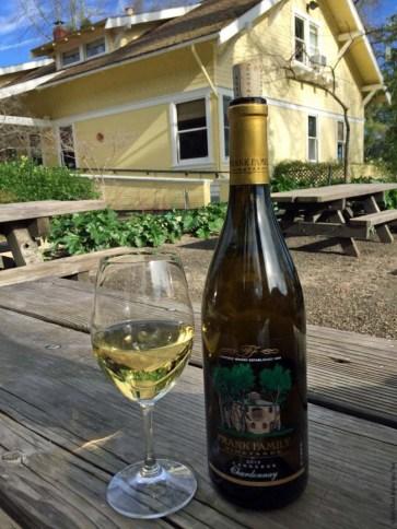Wine bottle at Frank Family Vineyards