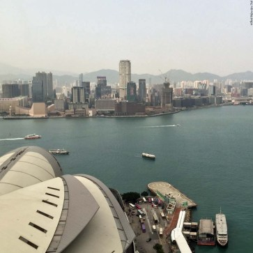 View overlooking Convention Centre, Victoria Harbour, and Kowloon - Hong Kong, China