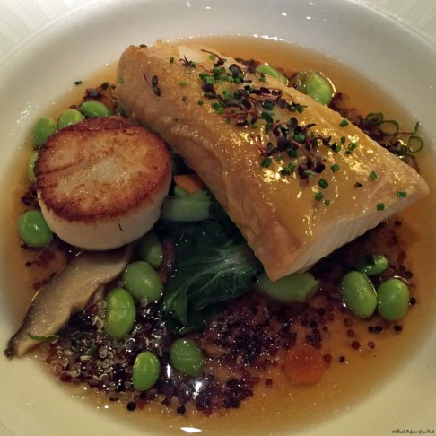 Sablefish and scallop at Blue Water Cafe in Yaletown - Vancouver, British Columbia, Canada