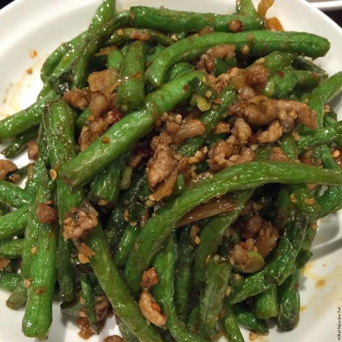 String Beans with Pork at Dinesty Dumpling House on Robson Street - Vancouver, British Columbia, Canada