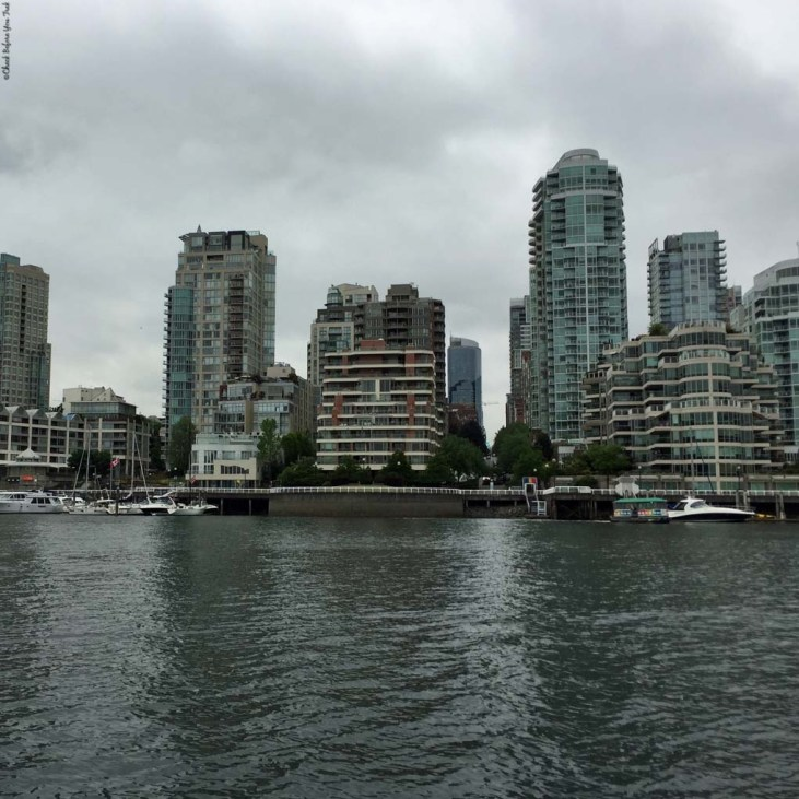 Hornby Street dock and False Creek as seen from Granville Island - Vancouver, British Columbia, Canada