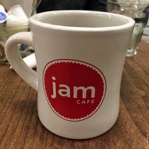 Coffee mug at Jam Cafe - Vancouver, British Columbia, Canada