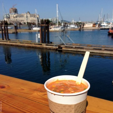 Red Fish Blue Fish view while enjoying a cup of Chowder - Victoria, British Columbia, Canada
