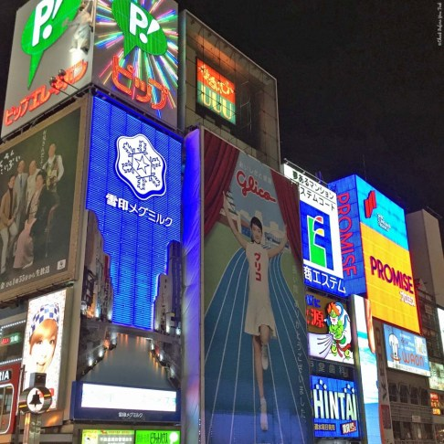Dotonbori billboards, including the Glico Running Man - Osaka, Japan