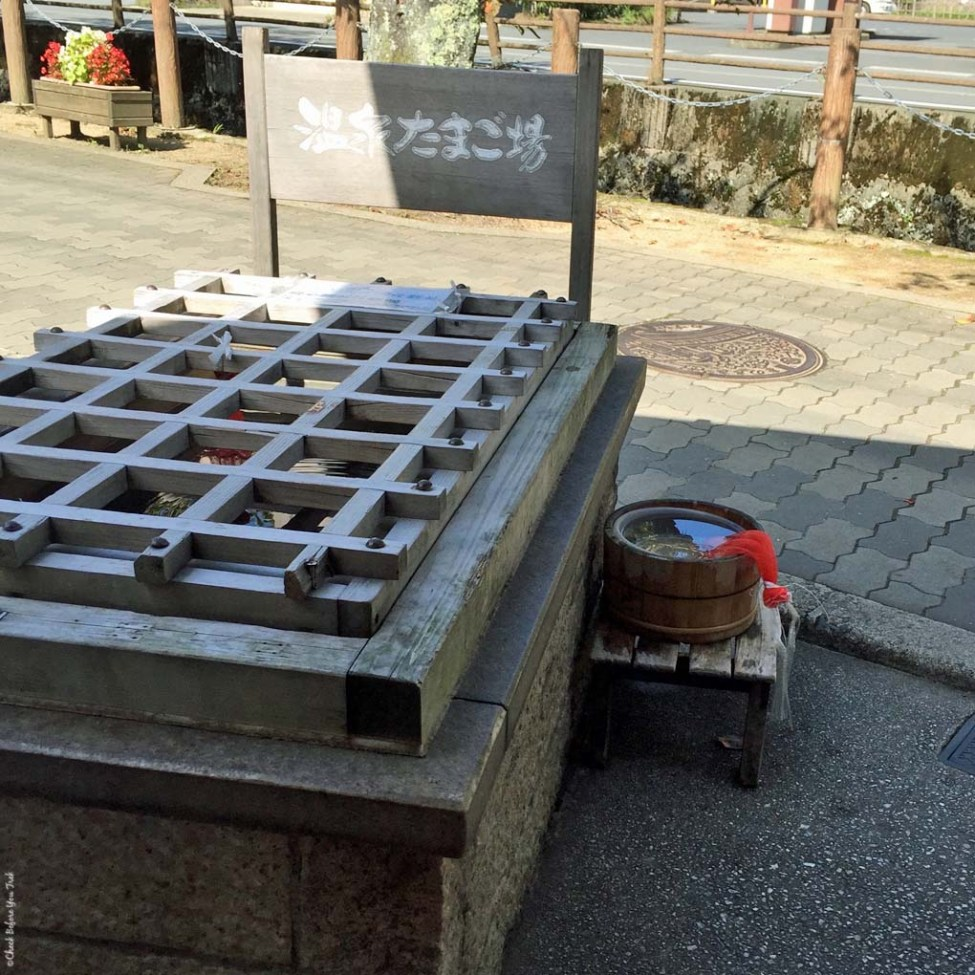 Stand in front of Chaya to warm up eggs - Kinosaki, Japan