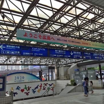 Visitors arriving at Hiroshima Station - Hiroshima, Japan