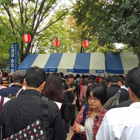 Saijo Festival sake tasting line - Saijo, Japan