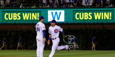 Aug 16, 2016; Chicago, IL, USA; Chicago Cubs first baseman Anthony Rizzo (44) and catcher Willson Contreras (40) celebrate after defeating the Milwaukee Brewers at Wrigley Field. Mandatory Credit: Caylor Arnold-USA TODAY Sports ORG XMIT: USATSI-261810 ORIG FILE ID:  081616_cja_ca2_038.JPG