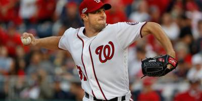 FILE - In this Oct. 7, 2016, file photo, Washington Nationals starting pitcher Max Scherzer works against the Los Angeles Dodgers during the first inning in Game 1 of baseball's National League Division Series at Nationals Park  in Washington.  The Nationals turn to Scherzer for the deciding Game 5 of the NL Division Series against the Dodgers, who already used Clayton Kershaw on short rest to stay alive. Scherzer calls this the biggest start of his career with a spot against the Cubs in the NL Championship Series at stake. (AP Photo/Pablo Martinez Monsivais, File)