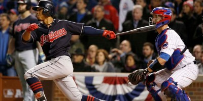 Cleveland Indians' Francisco Lindor hits a RBI single during the sixth inning of Game 5 of the Major League Baseball World Series against the Chicago Cubs, Sunday, Oct. 30, 2016, in Chicago. (AP Photo/Nam Y. Huh)