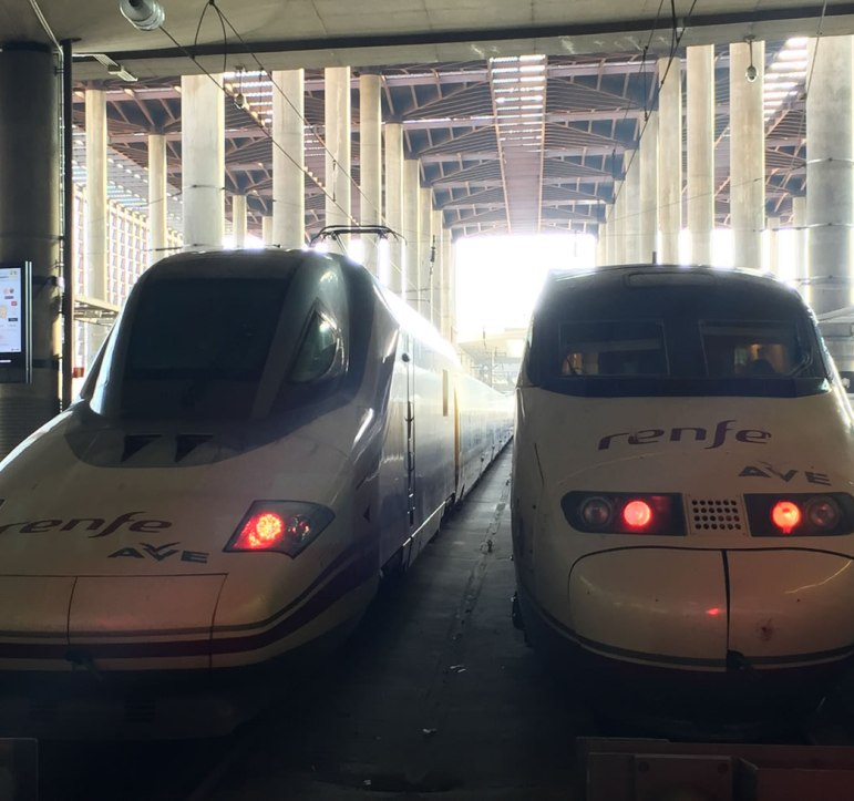 AVE high speed trains from the front in Madrid Spain