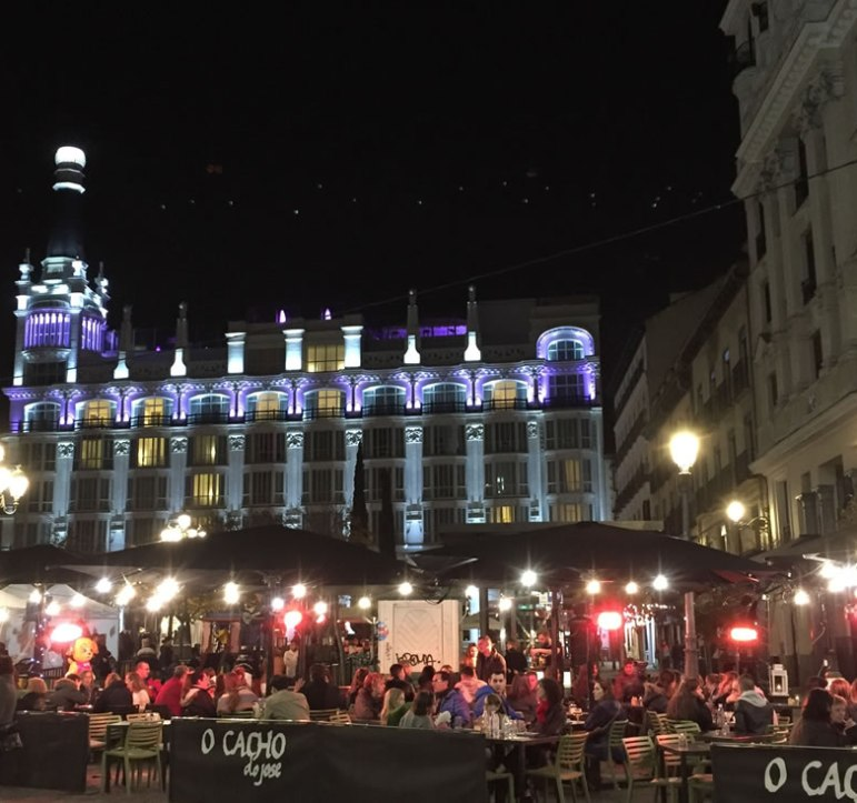 colorfully lit square in Madrid Spain