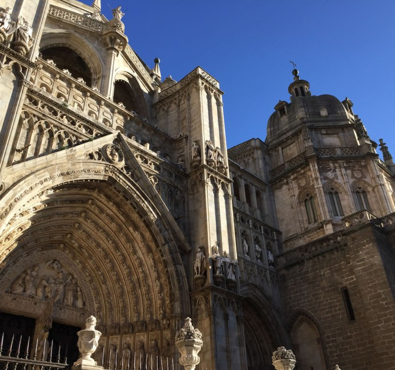 gothic arch in elaborate huge entry in Toledo Spain