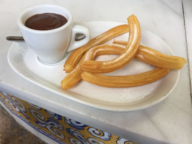 fuel for activities in Valencia: warm chocolate for dipping hot crispy churros