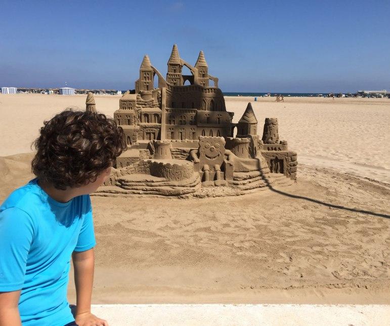 Elaborate sand castles and the Malvarossa beach