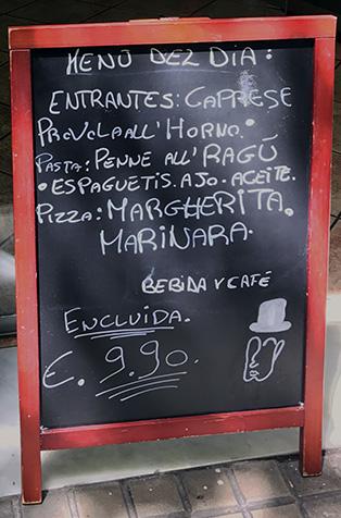 signboard with menu del dia