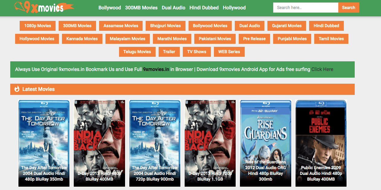9xmovies 2020 website: Download Bollywood Movies, Hollywood Movies ...