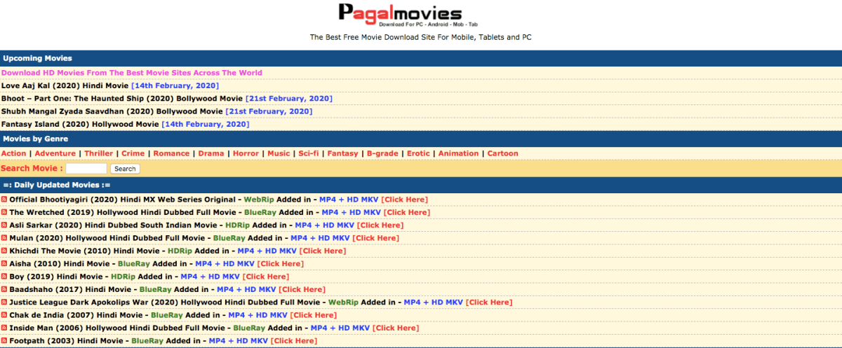 Pagalmovies (2020): Download Bollywood, Hollywood, English Dubbed, Bengali  HD Full Movies Free Download
