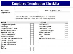 Termination Checklist Termination Checklist Template